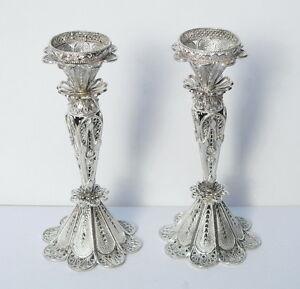 Pair Silver Filigree Flower Design Shabbat Candle Holders Sticks Judaica Jewish