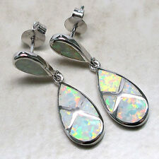 WONDERFUL GREEN FIRE WHITE OPAL 925 STERLING SILVER STUD EARRINGS
