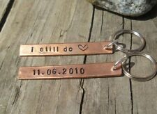 Pair KeyChains  7th Copper Wedding Anniversary With 1967 Halfpenny copper coins