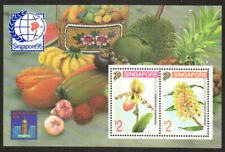 Singapore Stamp - Flowers/Orchids, food in sheet margin Stamp - NH
