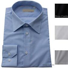 Camicia Uomo Regular Fit Tinta Unita Classica Cotone Liscio Manica Lunga Giacca