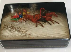 vintage hand painted Russian winter scene small box