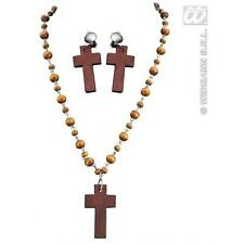 Wooden Rosary Necklace & Crucifix Cross Earrings Set Nun Priest Fancy Dress