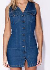 Mid Blue denim dress size 10 V Neck Sleeveless Button Front.