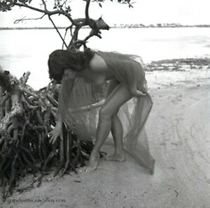 Bettie Page Original 1954 Camera Negative Bunny Yeager Photograph Nude On Beach