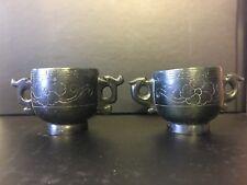 2x Vintage Chinese Jade Cups