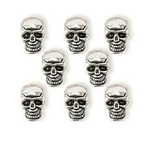 8 Steampunk Skull Bead Antique silver finish 7mm - JEWELRY CRAFT FINGDINGS