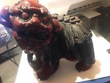 Large Antique Redwood Hand Carved Foo Dog Floating Spheres