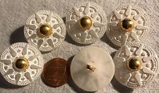 """6 Large Semi-translucent White Gold Tone PLASTIC Shank Buttons 1 1/8"""" 28mm 2871"""
