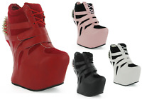WEDGE TRAINERS MEGA PLATFORM CURVE OUT HEEL LESS SPIKE STUDS GAGA ANKLE BOOTS UK