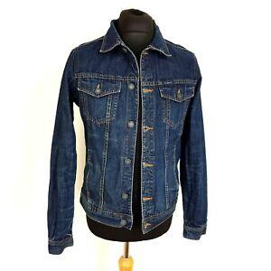 PULL & BEAR Mens Denim Jacket Size Medium 38 Dark Blue Biker Style Fitted