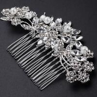 Wedding Hair Comb Silver Pearl Flower Bridal Clip Rhinestone Hair Accessories