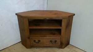 All New Real Solid Wooden Corner tv Cabinet stand  Rustic Plank Pine Furniture