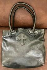 007453ca24d Stunning Large Chrome Hearts Black Leather/Sterling Silver Cross Satin  Handbag