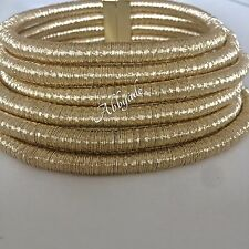 GOLD Metallic Chunky 6 Row Choker Coil Celebrity Kim Kardashian Popular Necklace