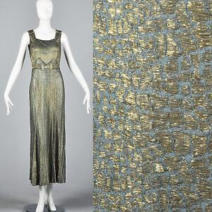 1930s Gold Lamé Evening Gown Formal Dress Hollywood Glamour Bias Cut Art Deco