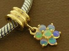 Bd102/E58 Genuine 9ct 9K Solid Gold Natural Opal Blossom Dangle Drop Bead Charm