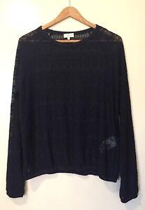 WOMEN 'CYRILLUS' PARIS NWOT Size L NAVY BLUE JACQUARD LACE SHEER LONG SLEEVE TOP