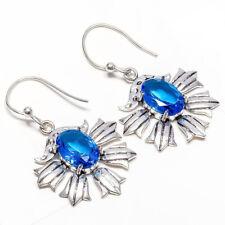 Blue Topaz Gemstone 925 Sterling Silver Handmade Earring Jewelry 2 Inch 7062