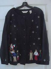 Bechamel Black Applique Children with Santa Clause sweatshirt Sweater 2X