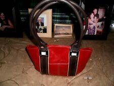 TIGNANELLO SATCHEL BAG IN RED AND BROWN WITH NAME DETAILING OUTSIDE AND INSIDE