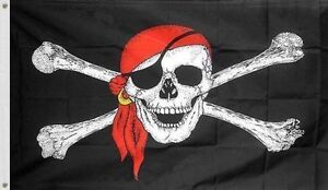 5x8 Jolly Roger Pirate Red Hat Scarf Flag House Banner Grommets
