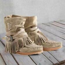 Indian Fringe Fashion Style Retro Women Ankle Short Boots Tassels Big Size Shoes
