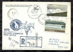 p366 - CALGARY STAMPEDE 1979 Registered Postcard. Cachet. Cowboy & Cattle Herd
