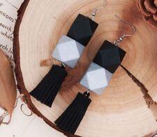 NEW Beautiful Silver & Black Wood Bead Tassel Earrings, UK Seller