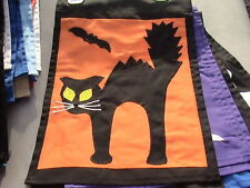 .scardy cat w/ yellow eyes with neon green + black bat garden flag 1 per win