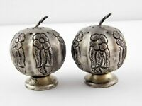 Vintage 925 Sterling Silver Floral Design Salt and Pepper Shaker Set Apple Shape