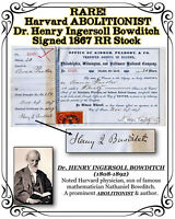 RARE! Harvard ABOLITIONIST Dr. Henry Ingersoll Bowditch Signed 1867 RR Stock