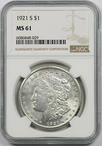 1921-S $1 NGC MS 61 Morgan Silver Dollar