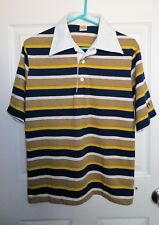 Vintage 1960's Hang Ten Striped Surfing Polo Shirt Men's Size Medium VGUC