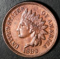 1882 INDIAN HEAD CENT - With LIBERTY & DIAMONDS - Near AU UNC