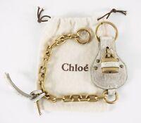 AUTHENTIC NEW CHLOE PADDINGTON BAG CHARM BEIGE METALLIC KEYCHAIN KEY RING RARE