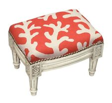 Footstools - Coral Sea Upholstered Footstool - Coral Linen Cushion Cover