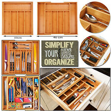 BAMBOO WOODEN EXTENDING CUTLERY TRAY ORGANISER EXPANDABLE DRAWER STORAGE BOX NEW