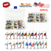 30Pcs Fishing Lures Spinnerbaits Bass Trout Salmon Hard Metal Spinner Baits Box