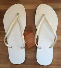 New Havaianas Women's Slim Rubber Logo Branco Thongs - Size 39/40