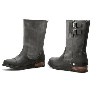 Sorel Leather Nubuck Suede Gray Major Pull On Boots Size 8