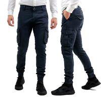 Pantaloni Uomo Cargo Elasticizzati Slim Fit Militare Blu Tasconi Laterali Pantal