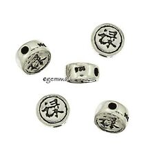 4 Antique Sterling Silver Chinese Fortune Coin Spacer Beads 5.6mm #97742