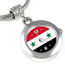 Syria Flag Silver European Spacer Charm Bead Watch For Bracelet Necklace EBA392