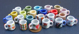1:12 Scale 2 Ceramic Coffee Mugs Tumdee Dolls House Miniature Kitchen Drink