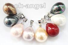 Wholesale Lots 8PCS 12x16mm Colorful Teardrop Sea Shell Pearl  Necklace Pendant