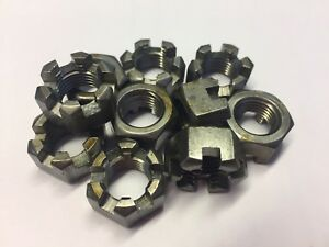 (QTY 2)  7/16UNF SLOTTED CASTLE / CASTELLATED NUTS STEEL SELF COLOUR / UNPLATED