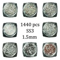1440pcs SS3 1.4mm Glass Rhinestone Small Tiny Clear Gems Nail Art Bling Diamante