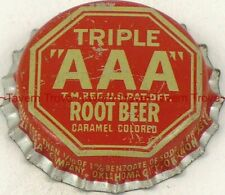 1940s OKLAHOMA City TRIPLE AAA ROOT BEER Cork Crown Tavern Trove