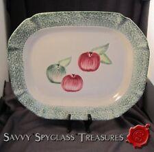 Large Vintage Green Spongeware Pottery Platter with Fruit/Apples